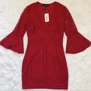 F21 Red Lace Bell-Sleeve Dress